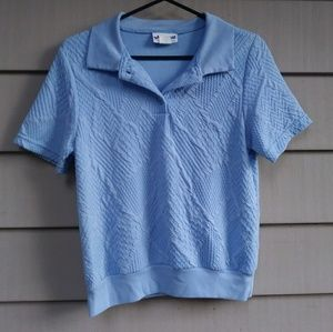 Textured light blue polo top shirt